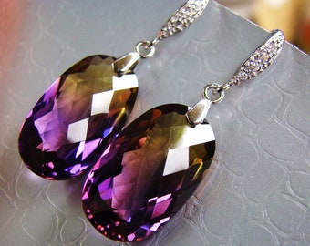 Sale Ametrine Earrings. Purple yellow. Bolivian Ametrine dangles. Statement jewelry. Sterling Silver Pave French hooks.  Elegant jewelry