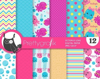 80% OFF SALE Girl Octopus paper digital papers, octopus commercial use, octopi scrapbook papers, background - PS853