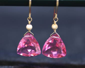 Wire Wrapped Trillion Pink Tourmaline Earrings 14K Gold Filled , October Birthstone , Wedding , Bridal , From Canada , 8th 38th Anniversary