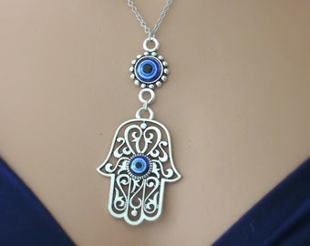 Statement Necklace - Evil Eye Necklace - Hamsa Hand Necklace - Silver Necklace - Blue Necklace - handmade jewelry