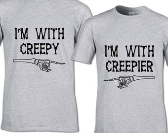 I'm with Creepy & I'm with Creepier T-Shirt Set Of 2 halloween marriage partners couples his and hers halloween haunted ghost ghouls scary