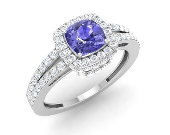 Tanzanite Engagement Ring | Tanzanite Ring White Gold | Cushion Cut Tanzanite and Diamond Ring | Certified Natural AAA Tanzanite Halo Ring