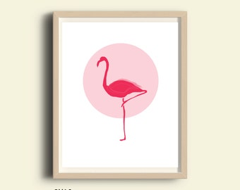 Kids art print nursery printable decor art print kid wall art baby room decor kids art nursery print pink Flamingo artwork kids animal art