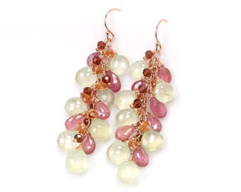 Pink Sapphire earrings- Dangle beaded earrings in Prehnite, Pink Sapphire, Garnet and Orange Sapphire Rose Gold filled, September birthstone