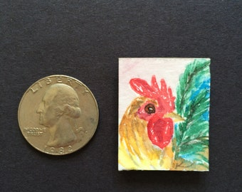 Miniature rooster chicken magnet original watercolor art painting