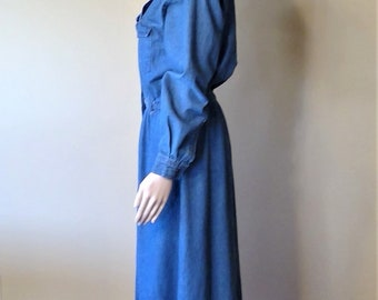 Vintage 1980's Bushwacker Denim Button Front Dress - Size 4