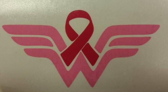 Cancer Ribbon Female Superhero Decal,  Car Window Decal Cancer Ribbon