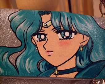 Custom, painted bag, handbag, Sailor Neptune, Michiru, Glitter