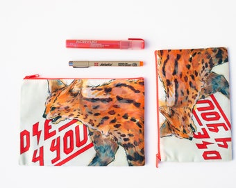 Serval (Wild Cat) zipper pouch - Large