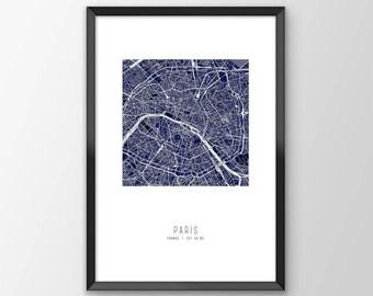 Paris City Map Print