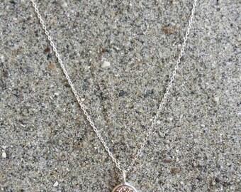 Tiny Rose Gold Druzy necklace, Dainty, Druzy, Rose Gold Necklace, Sterling Silver Bezel Set