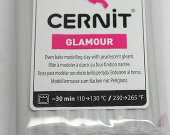 GLAMOROUS color CERNIT polymer clay silver - 56 Gr -