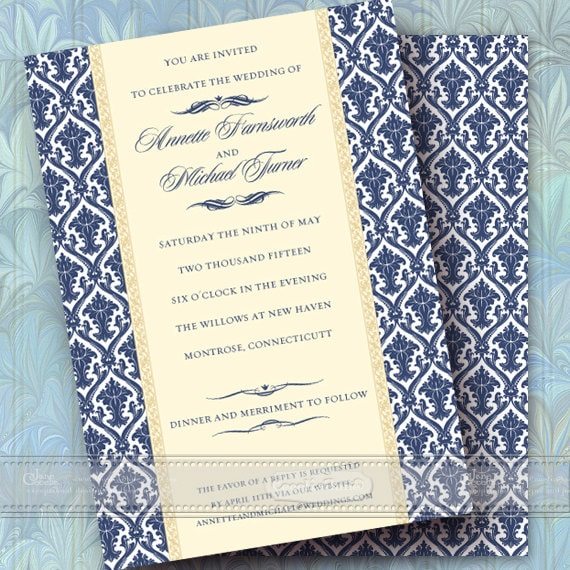 wedding invitations, navy wedding invitations, formal wedding invitations, navy bridal shower invitations, navy graduation invitations IN358