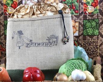 Potato sack with scarecrow motif (large size).  Kartoffeln Sack Kartoffeln Tasche
