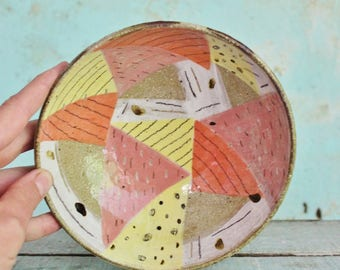 READY TO SHIP Ceramic Pottery Bowl Dish Stoneware Pink Orange Lemon Geo Triangles  Abstract Shapes Rustic Texture Australia