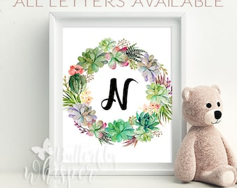 Succulent and Cactus Nursery Wall art decor print - Personalized Baby gift - Baby room wall letter printable - Baby shower green decoration