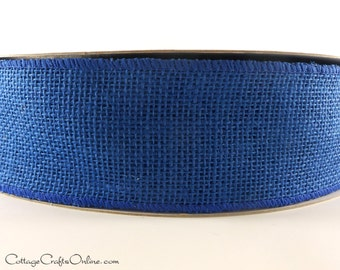 "Burlap Wired Ribbon, 2 1/2"" Royal Blue Natural Jute, TEN YARD Roll - Craft  Wire Edged Ribbon"