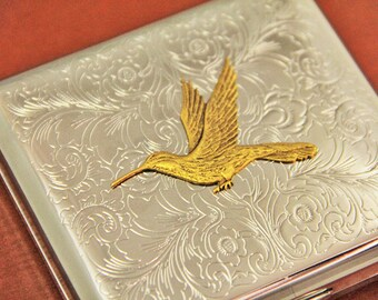 Hummingbird Cigarette Case Bird Metal Cigarette Holder Smoking Accessories Gifts for Him or Her Smokes Steampunk Vinteage Retro Unique Cases