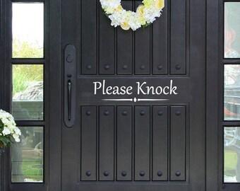 Please Knock Vinyl Decal Sticker Front Door Custom Vinyl Lettering Custom Door Decal Front Door Decals Fancy Door Vinyl