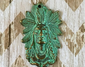 Indian Chief Pendant Patina Turquoise GREEN over Gold Pewter Pendant Jewelry Supply