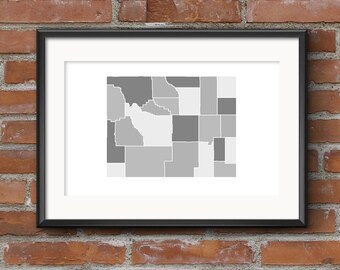 Wyoming County Map Print – Black & White // WY | Wyoming Map | Wyoming Print | Wyoming Poster | State Map // Free Shipping