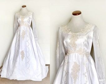 Wedding Dress / 60s Wedding Dress / Empire Waist Wedding Dress / 1960 Wedding Dress /  Long Vintage Wedding Dress /  Vintage Gowns