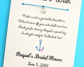 A Bride's Wish - Anchor's Away Nautical Theme - Wish Bracelet Party Favor Custom Made for You