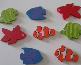 Scrapbooking embellishments 8 stickers depicting fish wooden