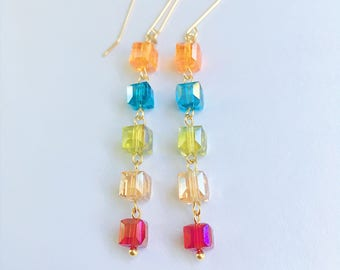 Cube Dangle Earrings, Crystal Cube Earrings, Colorful Earrings
