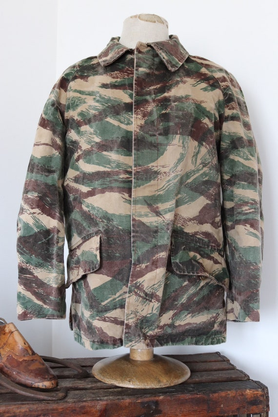 """Vintage 1960s 60s french cotton canvas woodland camo camouflage hunting jacket 46"""" chest workwear work chore"""