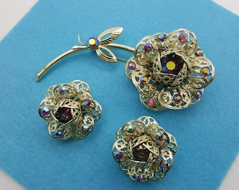 Sarah Coventry Fashion Flower Brooch and  Small Pair Clip earrings 1961 mint condition