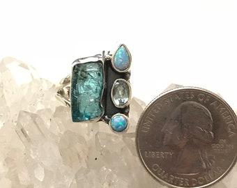 Rough Aquamarine, Opal and Blue Topaz Ring, Size 5 1/2