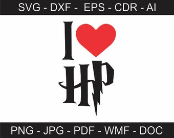 Download HP Harry Potter Initials svg ai dxf cdr pat jpeg