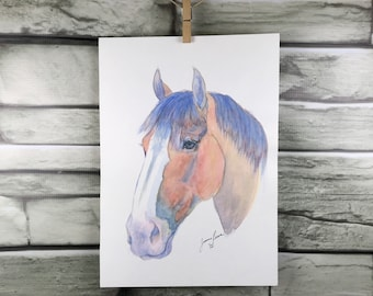 Clyde - horse art original watercolor painting Clydesdale draft horse