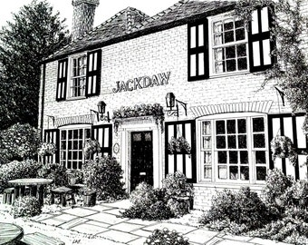 English pub art,British Pub print,black and white pub art,English scenes,English pub print,Kent England pub drawing, jackdaw pub drawing