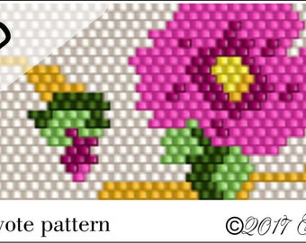 PATTERN ONLY - Magenta Roses Peyote Pattern
