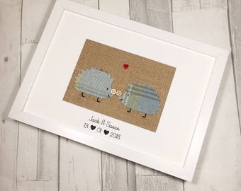 Kissing Hedgehogs Picture Mount - Personalised Valentines Gift - Hedgehog Gift - Hedgehog Picture - Personalised Anniversary Gift
