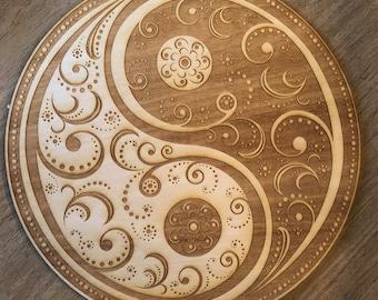 Yin Yang Mandala Crystal Grid - Yin Yang Crystal Grid - 3, 6, 9  or 12 Inches - Wooden Crystal Grid - Sacred Geometry