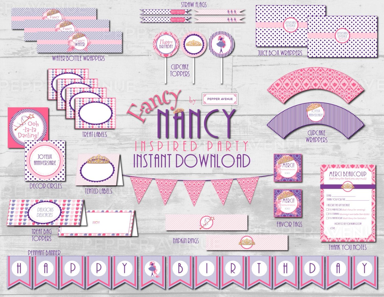 Fancy Nancy Birthday Party Package Printable PDF Files