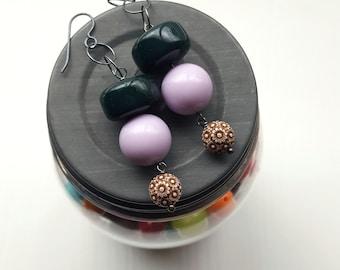 lila Baum - Ohrringe - Lavendel, Waldgrün, schokobraun - Blumen-Ohrringe - Lighweight Schmuck - Sterling silber