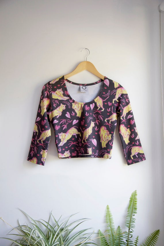 Jungle Tigers Top with Three Quarter Length Sleeves