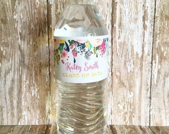 20 floral graduation water bottle stickers, flower 2016 graduation stickers, watercolor flower grad stickers, custom flower sticker