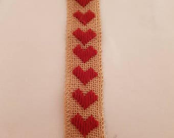 Handmade tapestry bookmark with red hearts