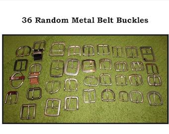 Large Random LOT of 36 Vintage Silver Tone Metal Belt Buckles from Leather Belts