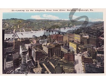 Instant Download, Printable Art, Pittsburgh Pennsylvania, Early 1900's, Downtown Allegheny Riverfront, WWI Era Vintage Postcard