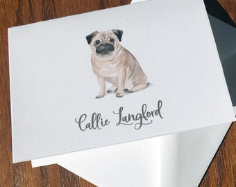 Pug Personalized Stationery, great gift for dog lovers, Pug stationery set 100% Cotton Savoy, custom gifts for dog lovers