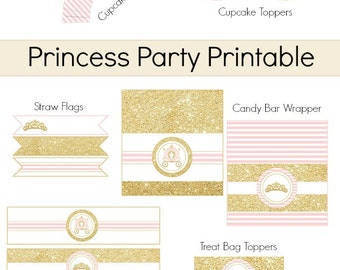 Princess Printable,Princess Party decoration,Party Printable, Princess,banner,water bottle, label,wrapper,toppers,