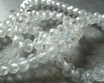(PF612) Set of 20 glass facet beads 6mm Crystal effect beads