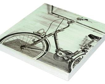 "Small Wall Art Print, Antique Bike Photography, Fine Art Wood Print, Dorm Wall Decor, Vintage Decor, Italy Photography, ""Bianchi Cruiser"""