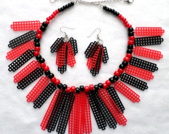 Plastic Canvas Necklace Set - Black and Red